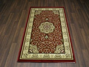 Woven Backed Red Traditional Carved Rug 80cm x 140cm Approx 5x3 Top Quality